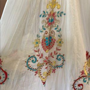 ▶️SOLD! ◀️White cotton skirt with mesh trim